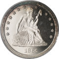 Proof Seated Quarters, 1866 25C PR64 Deep Cameo PCGS....