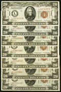 Small Size:World War II Emergency Notes, Fr. 2305 $20 1934A Hawaii Federal Reserve Notes. Seven Examples. Very Fine.. ... (Total: 7 notes)