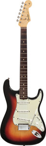"Musical Instruments:Electric Guitars, 1964 Fender Stratocaster ""Spaghetti Logo"" Sunburst Solid Body Electric Guitar, Serial # L32236...."
