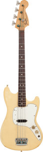 Musical Instruments:Bass Guitars, 1974 Fender Musicmaster White Electric Bass Guitar, Serial # 595536....