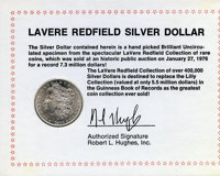 1883-CC The Morgan Dollar Contained is a brilliant specimen from the LaVere Redfield Collection of rare coins. It includ...