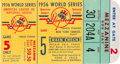 Baseball Collectibles:Tickets, 1956 World Series Game Five Ticket Stub--Don Larsen's PerfectGame....