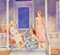 Mainstream Illustration, Jack Woolhiser (American, 20th Century). Drinks on thePorch, 1993. Watercolor and pencil on board. 17.5 x 18.25 in.(im...