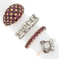 Estate Jewelry:Lots, Diamond, Ruby, Gold Rings. ... (Total: 4 Items)