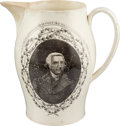 Political:3D & Other Display (pre-1896), Thomas Jefferson: Liverpool Creamware Pitcher Honoring our Second President....