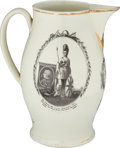Political:3D & Other Display (pre-1896), Britain's King George III: A Remarkable Large Liverpool Creamware Jug Which Also Features American Patriotic Motifs, Probably ...