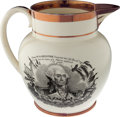Political:3D & Other Display (pre-1896), George Washington: A Rare Transfer on this Strawberry LusterLiverpool Memorial Pitcher....