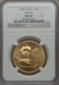 China, China: People's Republic gold 32-Piece 1 Ounce Panda Lot 1982-2011 MS69 NGC,... (Total: 32 coins)