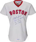Baseball Collectibles:Uniforms, 1975 Carl Yastrzemski Game Worn & Signed Boston Red Sox Jersey, MEARS A10....