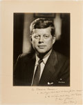 Autographs:U.S. Presidents, John F. Kennedy Inscribed Photograph Signed....