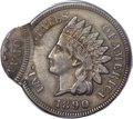 Errors, 1890 1C Indian Cent -- Double Struck, Second Strike 85% Off Center -- XF45 PCGS....