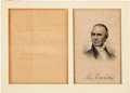 Autographs:Authors, John Greenleaf Whittier Autograph Note Signed. ...