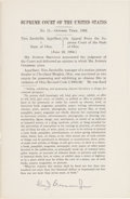 Autographs:Statesmen, Associate Justice William J. Brennan, Jr. Signed Slip Opinion onJacobellis v. State of Ohio. ...