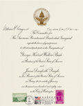 Autographs:Statesmen, Chief Justice William H. Rehnquist and Associate Justice Sandra DayO'Connor Signed 1989 Inaugural Invitation. ...