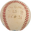 Baseball Collectibles:Balls, 1999 Ken Griffey, Jr. Home Run Baseball with Umpire Provenance. ...
