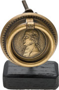 Antiques:Decorative Americana, Thomas Jefferson: Two-part Brass Drawer Pull with His Portrait andName Below....
