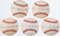 "Autographs:Baseballs, Theodore ""Double Duty"" Radcliffe Single Signed Baseballs Lot of 5...."