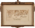 Autographs:U.S. Presidents, George Washington Letter Fragment with Signature. ...