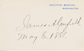 Autographs:U.S. Presidents, James A. Garfield Signed Executive Mansion Card. ...