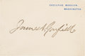 Autographs:U.S. Presidents, James A. Garfield Stamp Signed Executive Mansion Card. ...