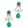 Estate Jewelry:Earrings, Chrysoprase, Diamond, White Gold Earrings. ... (Total: 2 Items)