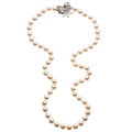 Estate Jewelry:Necklaces, Cultured Pearl, Diamond, White Gold Necklace. . ...