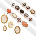 Estate Jewelry:Lots, Shell, Coral, Hardstone Cameo, Gold Jewelry Lot. ... (Total: 16Items)