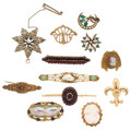 Estate Jewelry:Brooches - Pins, Multi-Stone, Diamond, Seed Pearl, Freshwater Pearl, Gold, YellowMetal Brooches. . ... (Total: 12 Items)