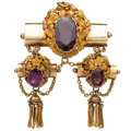 Estate Jewelry:Brooches - Pins, Victorian Garnet, Gold Brooch. ...