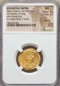 Ancients:Byzantine, Ancients: Maurice Tiberius (582-602). AV solidus (4.36 gm). NGC MS4/5 - 3/5, clipped....