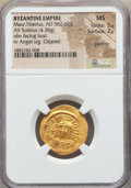 Ancients:Byzantine, Ancients: Maurice Tiberius (582-602). AV solidus (4.38 gm). NGC MS 5/5 - 2/5, graffito....