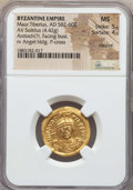 Ancients:Byzantine, Ancients: Maurice Tiberius (582-602). AV solidus (4.42 gm). NGC MS5/5 - 4/5, clipped....