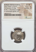 Ancients:Roman Republic, Ancients: Divus Julius Caesar (died 44 BC). AR denarius (3.35 gm). NGC Choice VF 4/5 - 3/5....