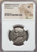 Ancients:Oriental, Ancients: PARTHIAN KINGDOM. Gotarzes II (AD 44-51). BI tetradrachm. NGC XF, graffito. ...