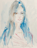 Mainstream Illustration, LeRoy Neiman (American, 1921-2012). Portrait of Maiko Lee,1974. Watercolor on paper. 27.75 x 21 in. (sight). Signed, da...