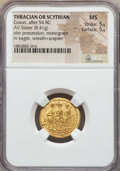 Ancients:Byzantine, Ancients: THRACIAN DYNASTS. Koson (ca. 44-42 BC). AV stater (8.41gm). NGC MS 5/5 - 5/5. ...