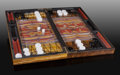 Lapidary Art:Carvings, Backgammon Set with Board and Pieces. Stone Source: Tiger's Eye;Northern Cape Province, South Africa; Tiger Iron and Neph...(Total: 2 Items)