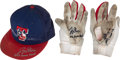 Baseball Collectibles:Hats, 2013 Joey Gallo Game Worn & Signed Texas Rangers Cap &Batting Gloves. ...