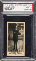Baseball Cards:Singles (Pre-1930), 1916 M101-5 Blank Back (Sporting News) Connie Mack #105 PSA Mint 9 - The Highest Graded Example! ...