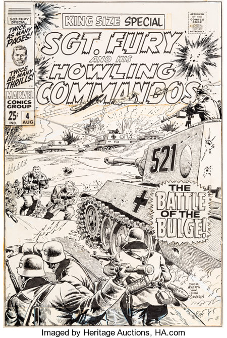 Dick Ayers and John Severin Sgt. Fury and His Howling Commandos Annual #4 Cover Original Art (Marvel, 1968)....
