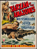 """Movie Posters:Adventure, Tarzan and the Amazons (RKO, Late 1940s). Trimmed Belgian Poster(14"""" X 19""""). Adventure.. ..."""