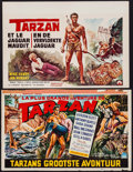 "Movie Posters:Adventure, Tarzan's Greatest Adventure & Other Lot (Paramount, 1959).Trimmed Belgian (13.5"" X 21.5"") & Belgian (14.25"" X 21"").Adventu... (Total: 2 Items)"