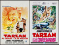"Movie Posters:Adventure, Tarzan's Desert Mystery & Other Lot (MGM, R-1970s). Belgians(2) (14"" X 22""). Adventure.. ... (Total: 2 Items)"