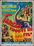 "Movie Posters:Adventure, Tarzan Finds a Son (MGM, R-1940s). Trimmed Belgian (14"" X 19"").Adventure.. ..."