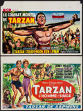 "Movie Posters:Adventure, Tarzan the Ape Man & Other Lot (MGM, 1959). Belgians (2)(14.25""X 21""). Adventure.. ... (Total: 2 Items)"