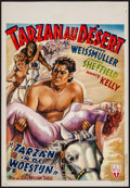"Movie Posters:Adventure, Tarzan's Desert Mystery (RKO, Late 1940s). First Post-War ReleaseBelgian (14"" X 20.5""). Adventure.. ..."