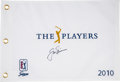 Golf Collectibles:Autographs, 2010 Jack Nicklaus Signed Gold Flag from The Gary CarterCollection....