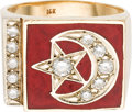 General Historic Events, Elijah Muhammad: 14-karat Yellow Gold, Diamond and Enamel RingBelonging to Muhammad, Bearing the Star and Crescent Symbol of ...