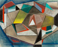 Works on Paper, Robert Preusser (American, 1919-1992). Angular Construction, circa 1940. Oil on paper. 14 x 17 inches (35.6 x 43.2 cm) (...