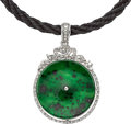 Estate Jewelry:Pendants and Lockets, Jadeite Jade, Diamond, White Gold Pendant-Necklace. ...